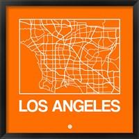Framed Orange Map of Los Angeles