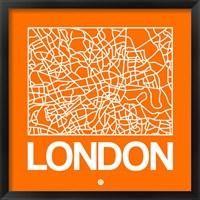 Framed Orange Map of London