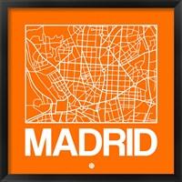 Framed Orange Map of Madrid