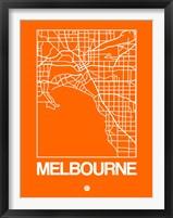 Framed Orange Map of Melbourne