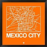 Framed Orange Map of Mexico City