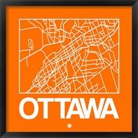 Framed Orange Map of Ottawa