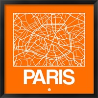Framed Orange Map of Paris