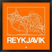 Framed Orange Map of Reykjavik