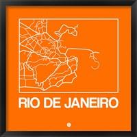 Framed Orange Map of Rio De Janeiro