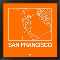 Framed Orange Map of San Francisco