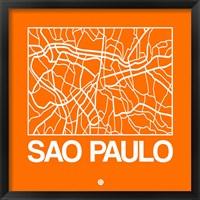 Framed Orange Map of Sao Paulo