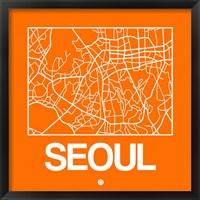 Framed Orange Map of Seoul