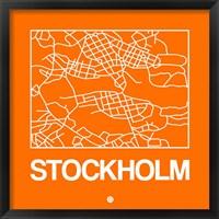 Framed Orange Map of Stockholm