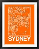 Framed Orange Map of Sydney