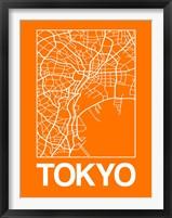 Framed Orange Map of Tokyo