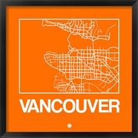 Framed Orange Map of Vancouver