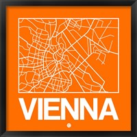 Framed Orange Map of Vienna