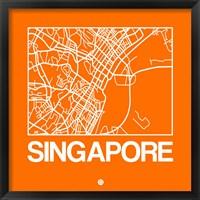 Framed Orange Map of Singapore