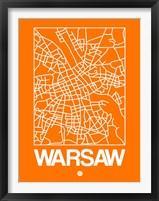 Framed Orange Map of Warsaw