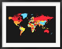 Framed World Map Countries