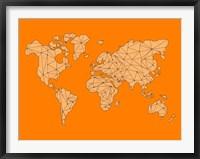 Framed World Map Orange 1