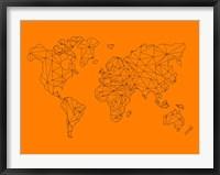 Framed World Map Orange 2