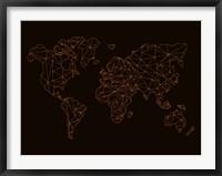 Framed World Map Orange 3