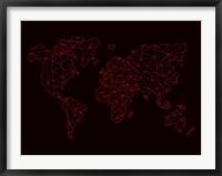 Framed World Map Red