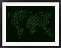 Framed World Map Green Wire