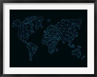 Framed World Map Blue Wire