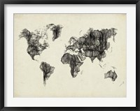 Framed World Map Drawing 2