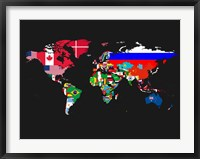 Framed World Map Contry Flags 1
