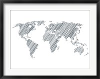 Framed Pencile Scribble World Map 1