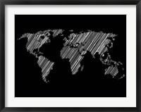 Framed Pencile Scribble World Map 2