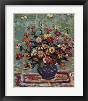 Framed Flowers in a Blue Vase