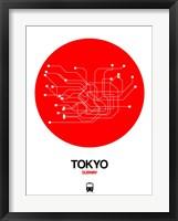 Framed Tokyo Red Subway Map