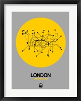 Framed London Yellow Subway Map