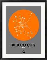 Framed Mexico City Orange Subway Map