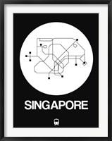 Framed Singapore White Subway Map