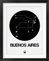 Framed Buenos Aires Black Subway Map