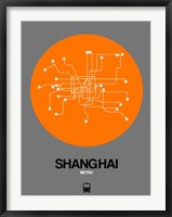 Framed Shanghai Orange Subway Map
