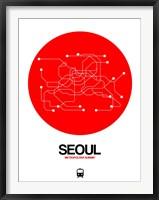 Framed Seoul Red Subway Map