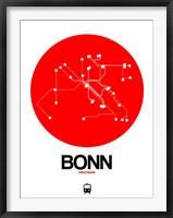 Framed Bonn Red Subway Map