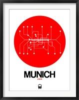 Framed Munich Red Subway Map