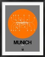Framed Munich Orange Subway Map