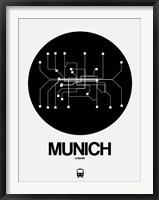 Framed Munich Black Subway Map