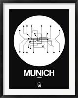Framed Munich White Subway Map