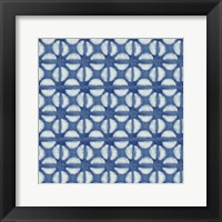 Framed Blue Shibori I (blue coffee bean)