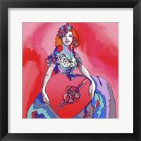 Framed Pop Art Heart Valentine Lady
