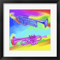 Framed Pop Art Trumpets