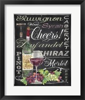 Framed Cheers Wine Art - Black
