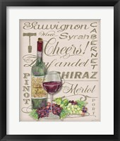 Framed Cheers Wine Art - White