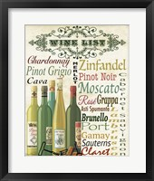 Framed Wine List