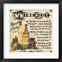 Framed Wine List Vintage